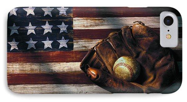 Folk Art American Flag And Baseball Mitt IPhone 7 Case by Garry Gay