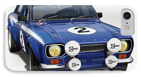 Ford Escort Rs 2000 Illustration IPhone Case by Alain Jamar