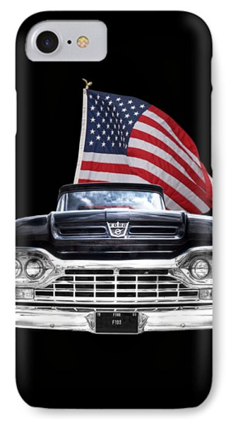 Ford F100 With U.s.flag On Black IPhone Case by Gill Billington