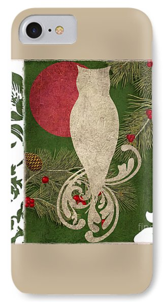 Forest Holiday Christmas Owl IPhone 7 Case by Mindy Sommers