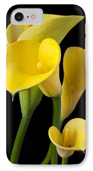 Four Yellow Calla Lilies IPhone Case by Garry Gay