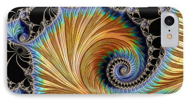 Fractal Art - Blue And Gold IPhone Case by HH Photography of Florida