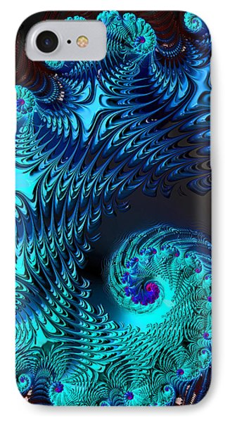 Fractal Art - Blue Wave IPhone Case by HH Photography of Florida