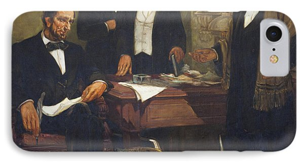 Frederick Douglass Appealing To President Lincoln And His Cabinet To Enlist African Americans IPhone Case by William Edouard Scott