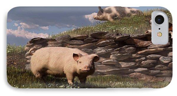 Free Range Pigs Phone Case by Daniel Eskridge