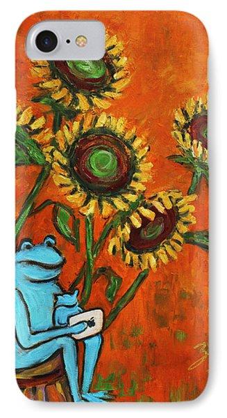 Frog I Padding Amongst Sunflowers Phone Case by Xueling Zou
