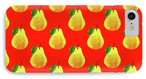 Fruit 03_pear_pattern IPhone Case by Bobbi Freelance