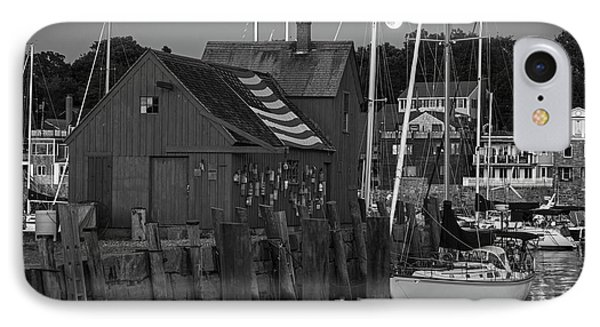 Full Moon Rising Over Motif  Number 1 Rockport Ma Black And White IPhone Case by Toby McGuire