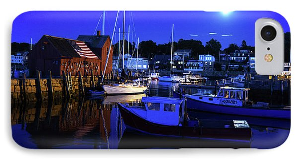 Full Moon Rising Over Motif  Number 1 Rockport Ma Blue Sky IPhone Case by Toby McGuire