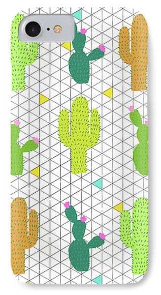 Funky Cactus IPhone 7 Case by Nicole Wilson