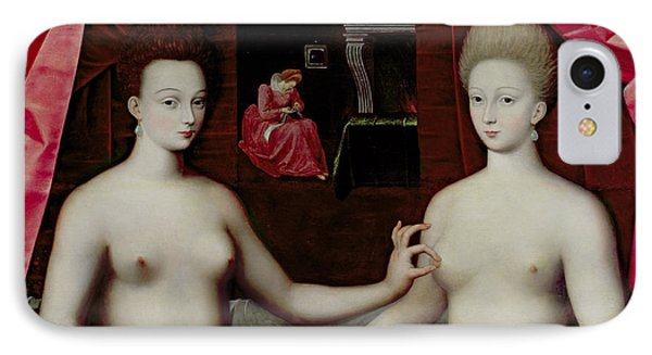 Gabrielle Destrees And Her Sister The Duchess Of Villars IPhone Case by Fontainebleau School