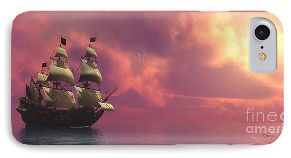 Galleon Ship With Sails IPhone Case by Corey Ford
