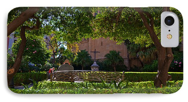 Garden Outside Malagas Cathedral IPhone Case by Panoramic Images