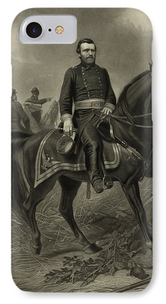 General Grant On Horseback  IPhone Case by War Is Hell Store