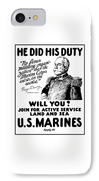 George Dewey - Us Marines Recruiting IPhone Case by War Is Hell Store