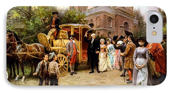 George Washington Arriving At Christ Church IPhone Case by War Is Hell Store