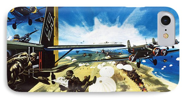 German Paratroopers Landing On Crete During World War Two IPhone Case by Wilf Hardy