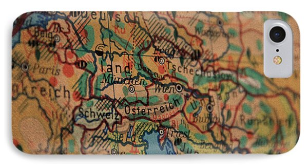 German Vintage Map Of Central Europe From Old Globe IPhone Case by Design Turnpike
