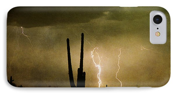Giant Saguaro Southwest Lightning  Peace Out  Phone Case by James BO  Insogna