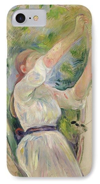 Girl Gathering Cherries IPhone Case by Berthe Morisot
