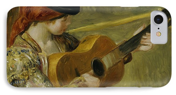 Girl With A Guitar IPhone Case by Pierre Auguste Renoir