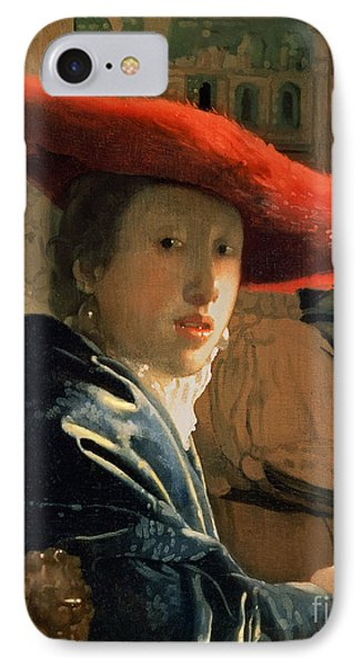 Girl With A Red Hat IPhone Case by Jan Vermeer