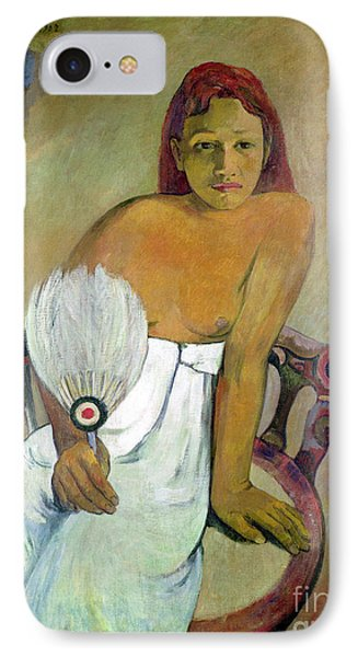 Girl With Fan IPhone Case by Paul Gauguin