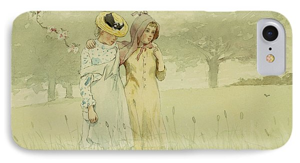 Girls Strolling In An Orchard IPhone Case by Winslow Homer