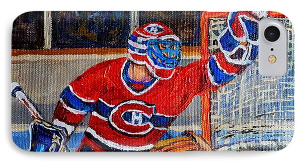 Goalie Makes The Save Stanley Cup Playoffs IPhone Case by Carole Spandau