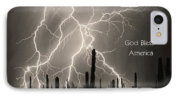 God Bless America Bw Lightning Storm In The Usa Desert Phone Case by James BO  Insogna