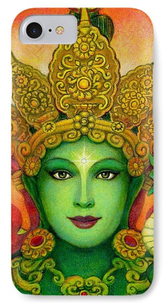 Goddess Green Tara's Face IPhone Case by Sue Halstenberg