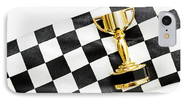 Gold Trophy On A Checked Sport Flag IPhone Case by Jorgo Photography - Wall Art Gallery