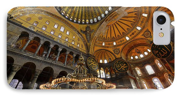 Golden Ceiling Domes And Lit Chandeliers In The Hagia Sophia Ist IPhone Case by Reimar Gaertner