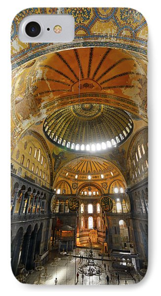 Golden Domes Frescoe And Crooked Qiblah Wall Inside The Hagia So IPhone Case by Reimar Gaertner