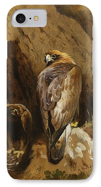 Golden Eagles At Their Eyrie IPhone Case by Archibald Thorburn