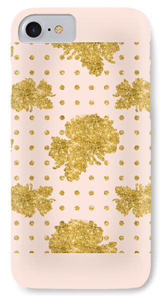 Golden Gold Blush Pink Floral Rose Cluster W Dot Bedding Home Decor IPhone Case by Audrey Jeanne Roberts