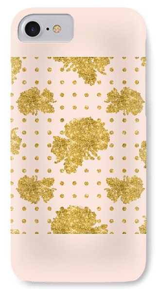 Golden Gold Blush Pink Floral Rose Cluster W Dot Bedding Home Decor IPhone 7 Case by Audrey Jeanne Roberts