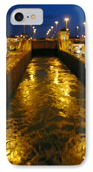 Golden Panama Canal Phone Case by Phyllis Kaltenbach
