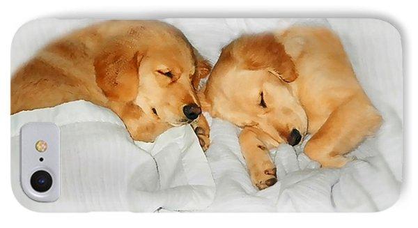 Golden Retriever Dog Puppies Sleeping Phone Case by Jennie Marie Schell
