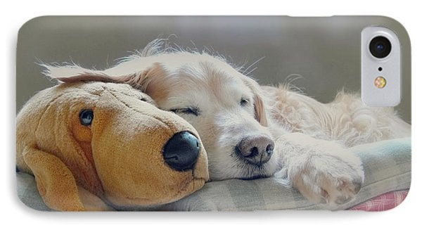Golden Retriever Dog Sleeping With My Friend Phone Case by Jennie Marie Schell