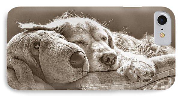 Golden Retriever Dog Sleeping With My Friend Sepia Phone Case by Jennie Marie Schell