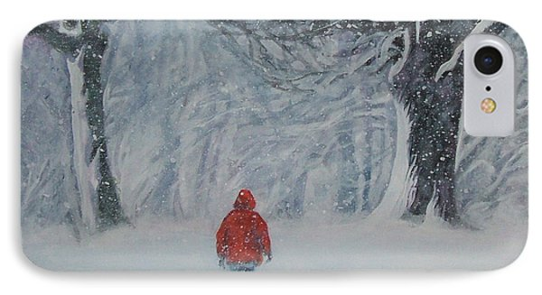 Golden Retriever Winter Walk IPhone Case by Lee Ann Shepard