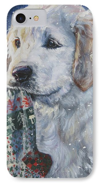 Golden Retriever With Xmas Stocking Phone Case by Lee Ann Shepard
