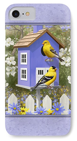Goldfinch Birdhouse Lavender IPhone Case by Crista Forest