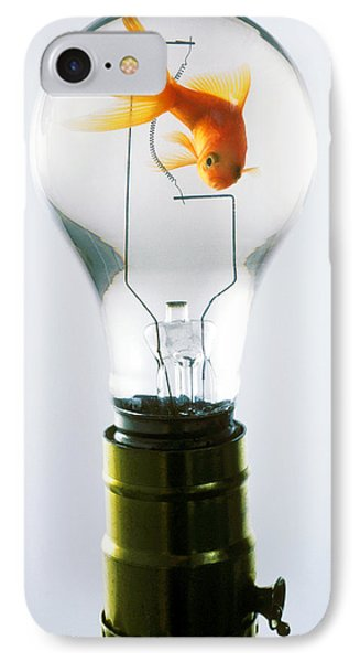 Goldfish In Light Bulb  IPhone Case by Garry Gay