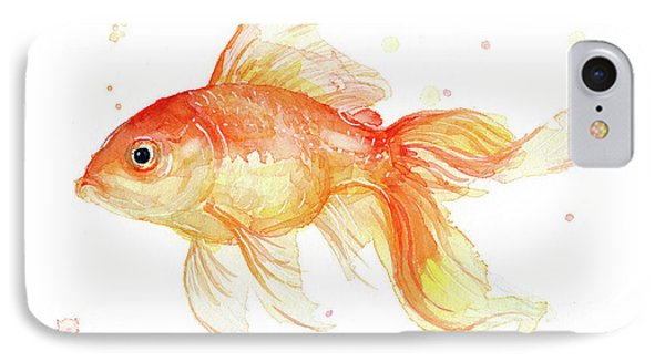 Goldfish Painting Watercolor IPhone 7 Case by Olga Shvartsur