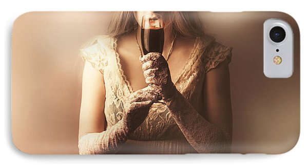 Gothic Woman Slipping Wine Glass. Halloween Party IPhone Case by Jorgo Photography - Wall Art Gallery