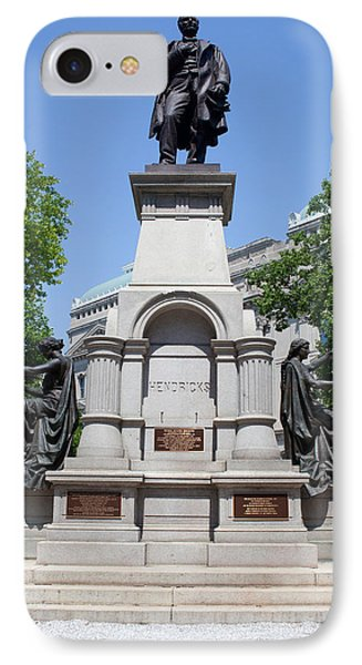 Governor Thomas A. Hendricks Monument IPhone Case by Panoramic Images