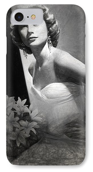 Grace Kelly Drawing IPhone 7 Case by Quim Abella