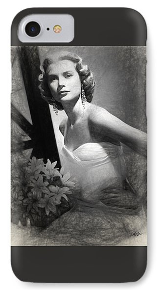 Grace Kelly Drawing IPhone Case by Quim Abella